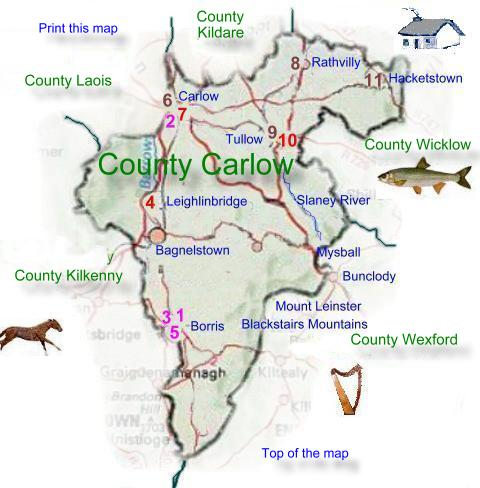 Carlow Map Of Ireland.Map Of County Carlow