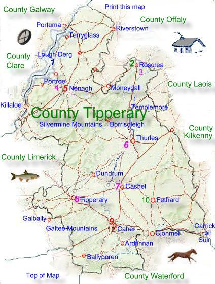 County Tipperary Ireland Map.Map Of County Tipperary